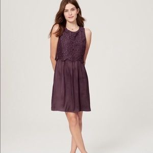 NWOT LOFT purple lace top with satin bottom dress
